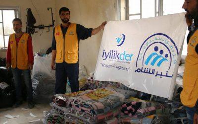 تقديم المواد الغذائية والحرامات والفرشات والألبسة لأهالي مدينة تدمرالنازحين إلى منطقة الباب